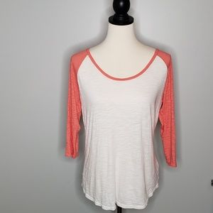 Express burnout baseball tee with coral sleeves